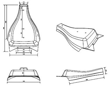 Seat Cover 4 view drawing